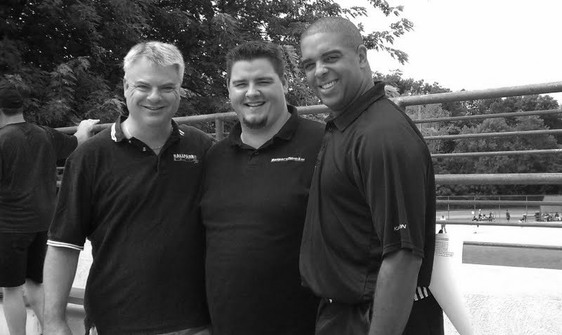 Kyle (center) with broadcast colleagues Blair Setford (L) and Lance Winn (R)